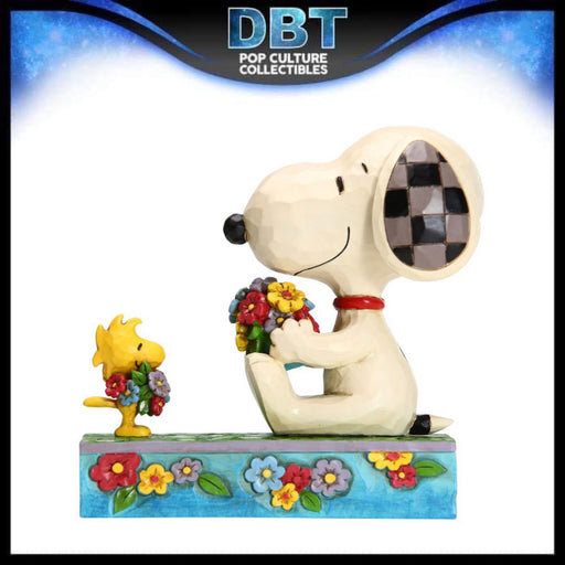 "Jim Shore Peanuts: Snoopy and Woodstock With Flowers 4.5"" Figurine"