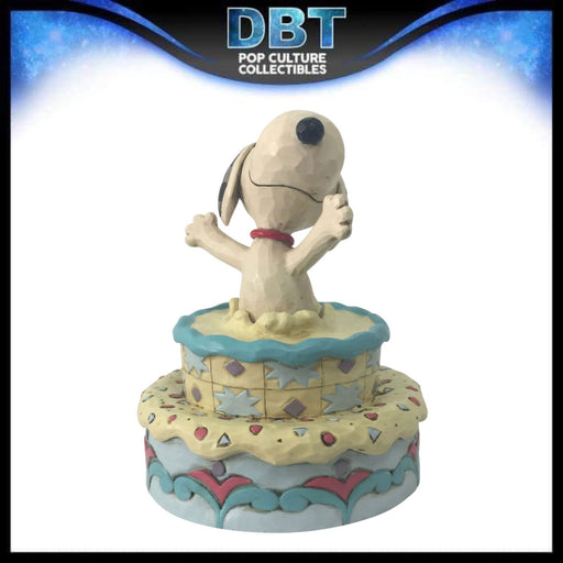 "Jim Shore Peanuts: Snoopy Jumping Out of Birthday Cake 5.5"" Figurine"
