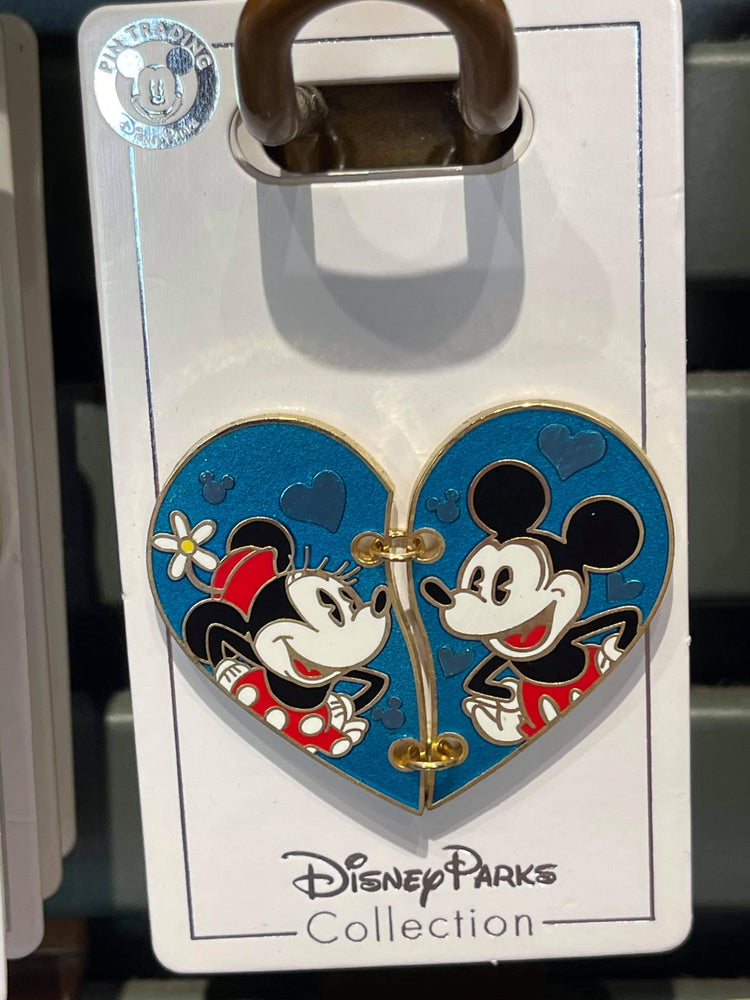 Disney Parks 'Pin Trader' Mickey and Minnie Stitched Heart Pin
