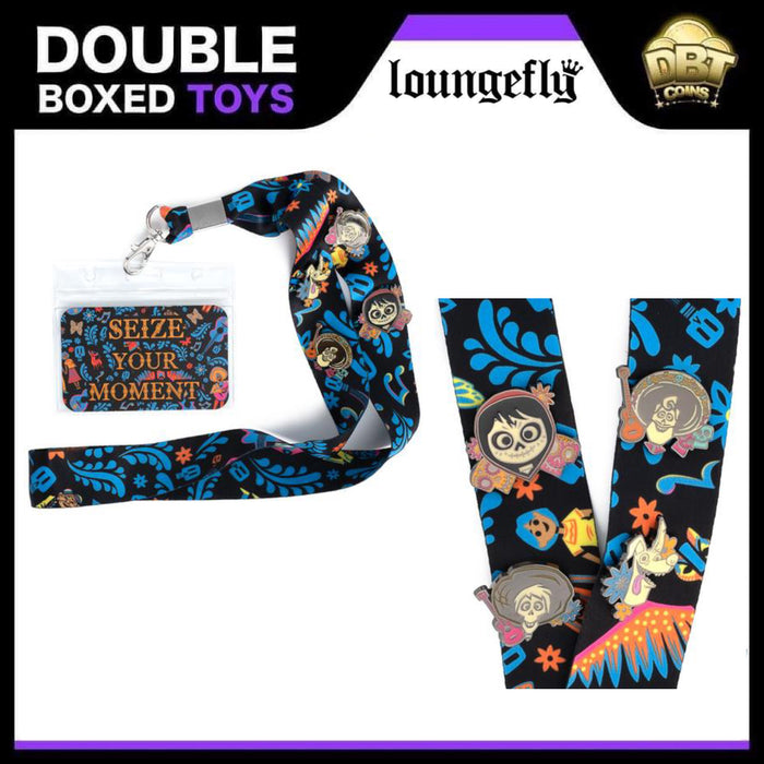 Disney Loungefly - Pixar Coco Seize Your Moment Lanyard with Cardholder & 4 Enamel Pins