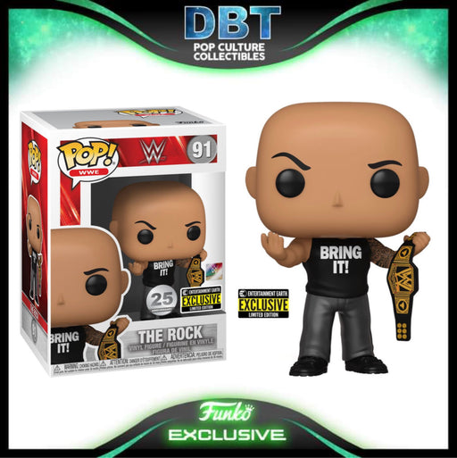WWE: The Rock with WWE Championship Belt Entertainment Earth Exclusive Funko Pop