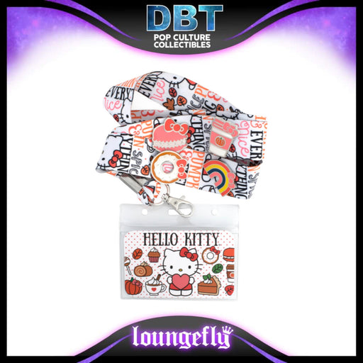 Hello Kitty Loungefly Pumpkin Spice Lanyard with Cardholder & 4 Enamel Pins