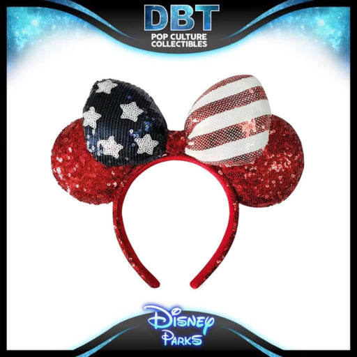 Minnie Mouse Americana Sequined Ear Headband with Bow - Disney Parks Exclusive