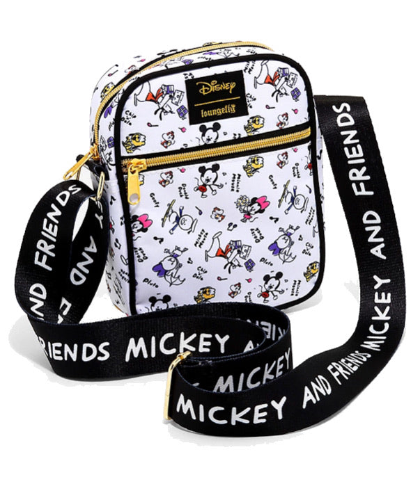 Loungefly Disney Mickey Mouse & Friends Chibi Sketch Athletic Crossbody Bag - Hot Topic Exclusive
