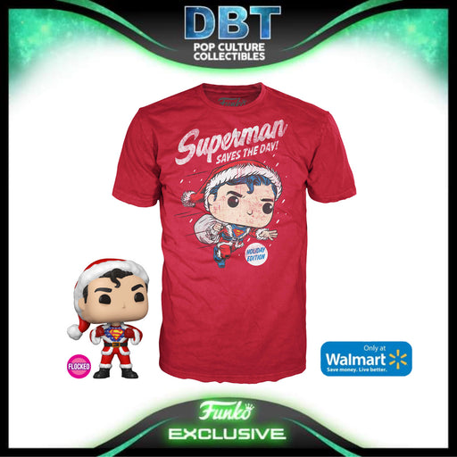 DC Comics: Flocked Superman In Holiday Sweater Pop & Tee Walmart Exclusive Collectors Box