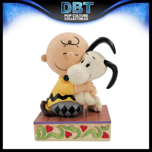 "Jim Shore Peanuts: Charlie Brown Hugging Snoopy 4.5"" Figurine"