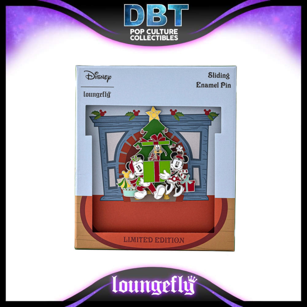 Disney Loungefly - Holiday Mickey & Minnie Mouse Collector Box Sliding Enamel Pin LE2500