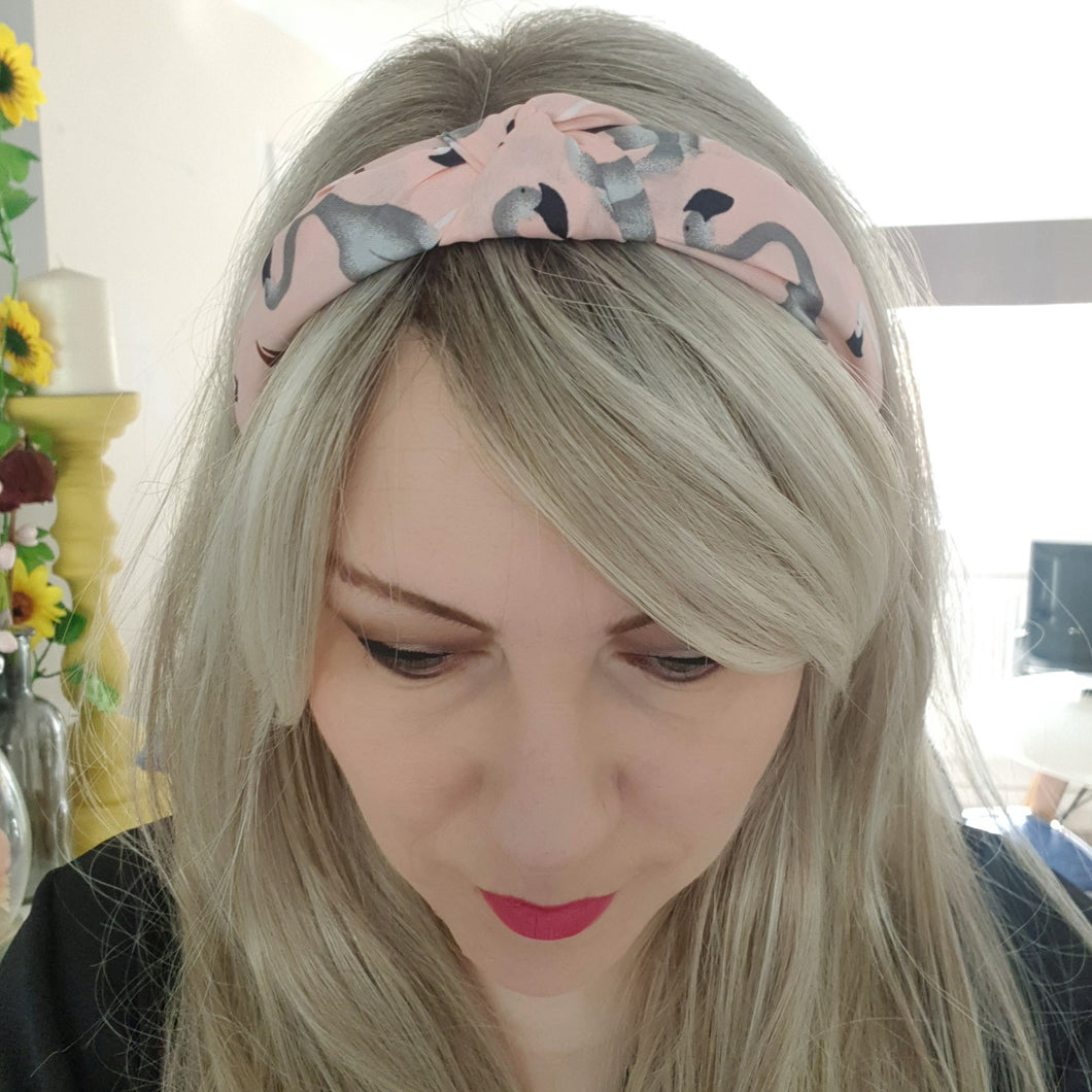 Pink and grey flamingo alice band