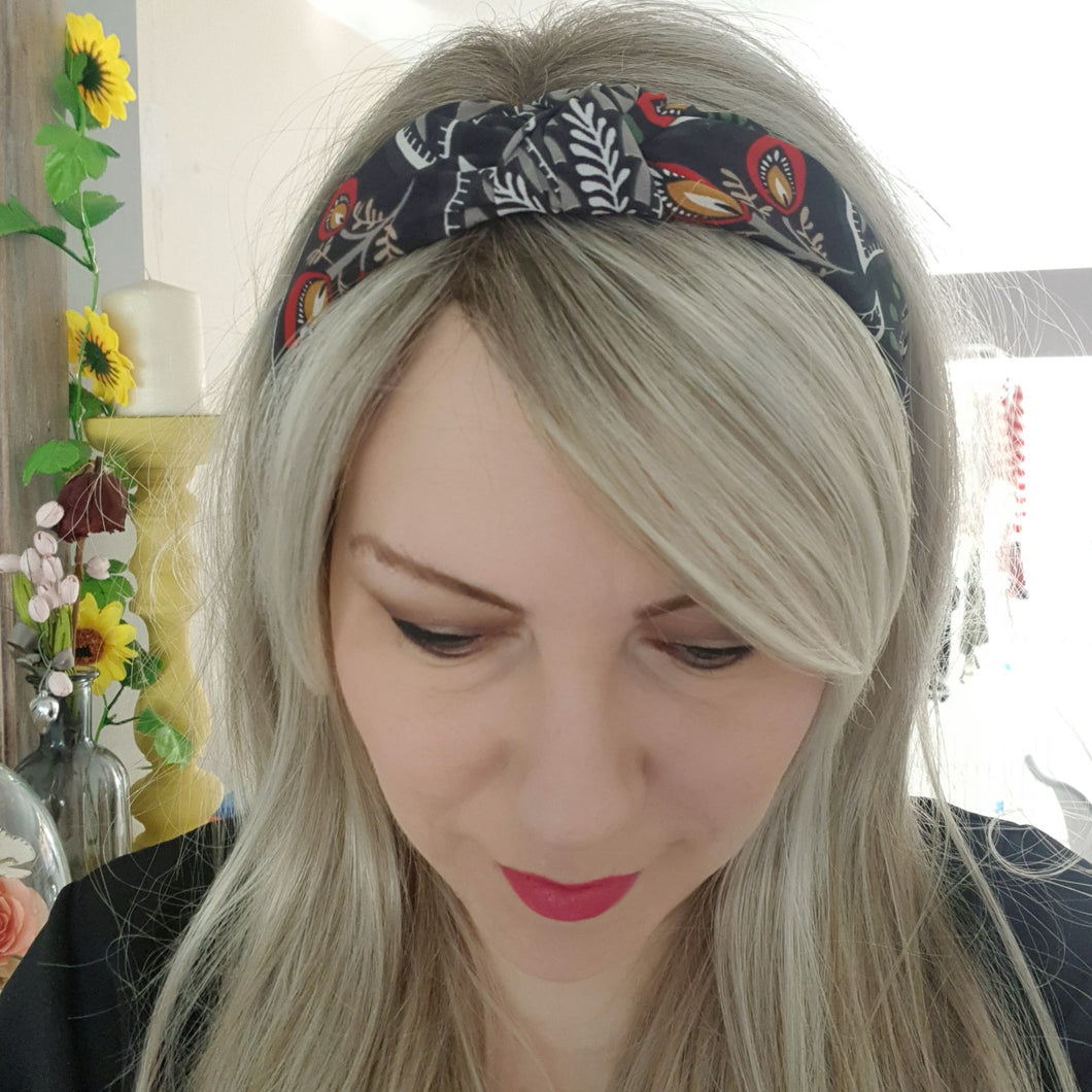 Navy florals alice band