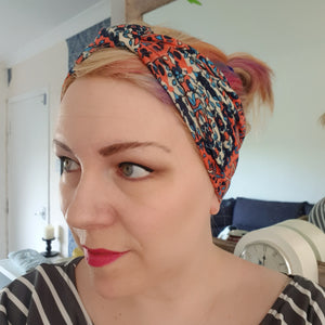 Orange multi print headband