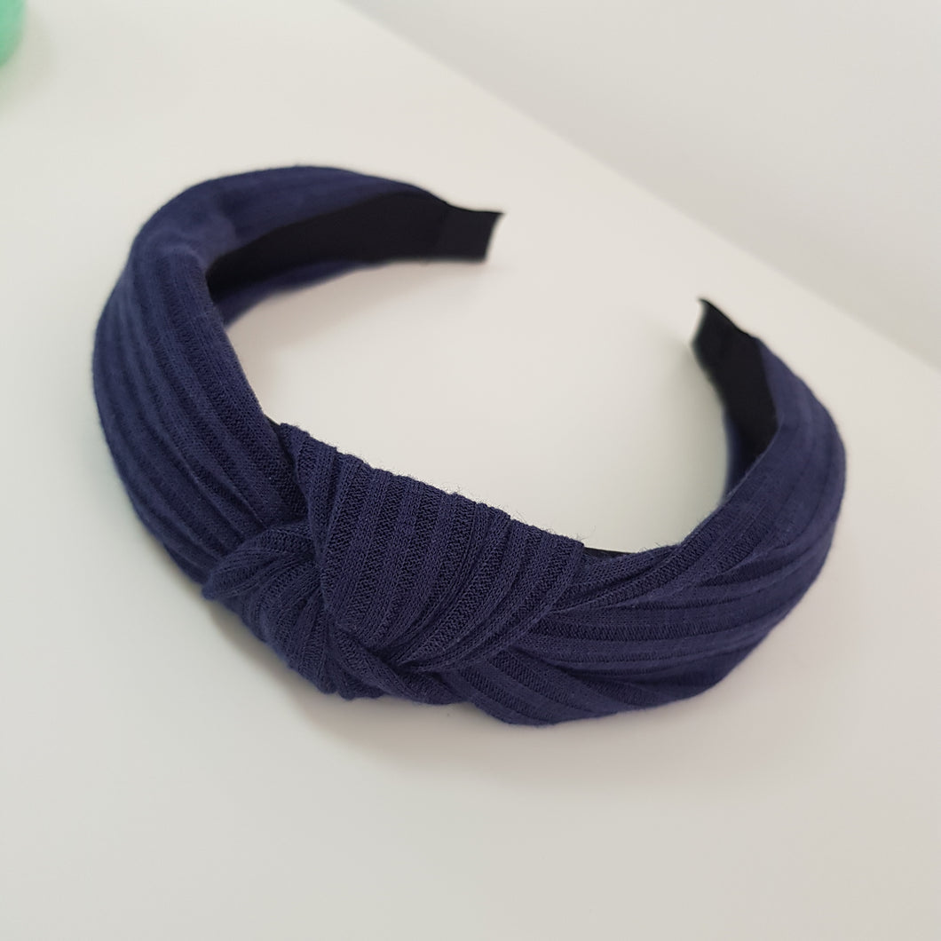 Navy Knotted Rib material alice band