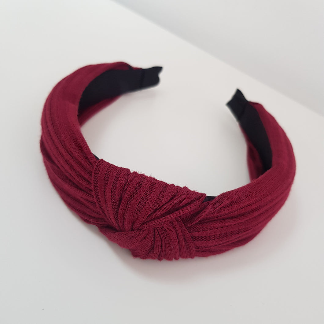 burgundy Knotted Rib material alice band