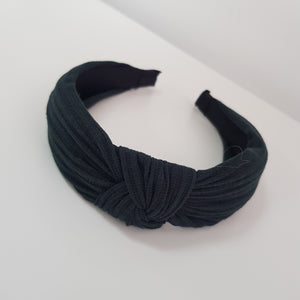 Charcoal Knotted Rib material alice band