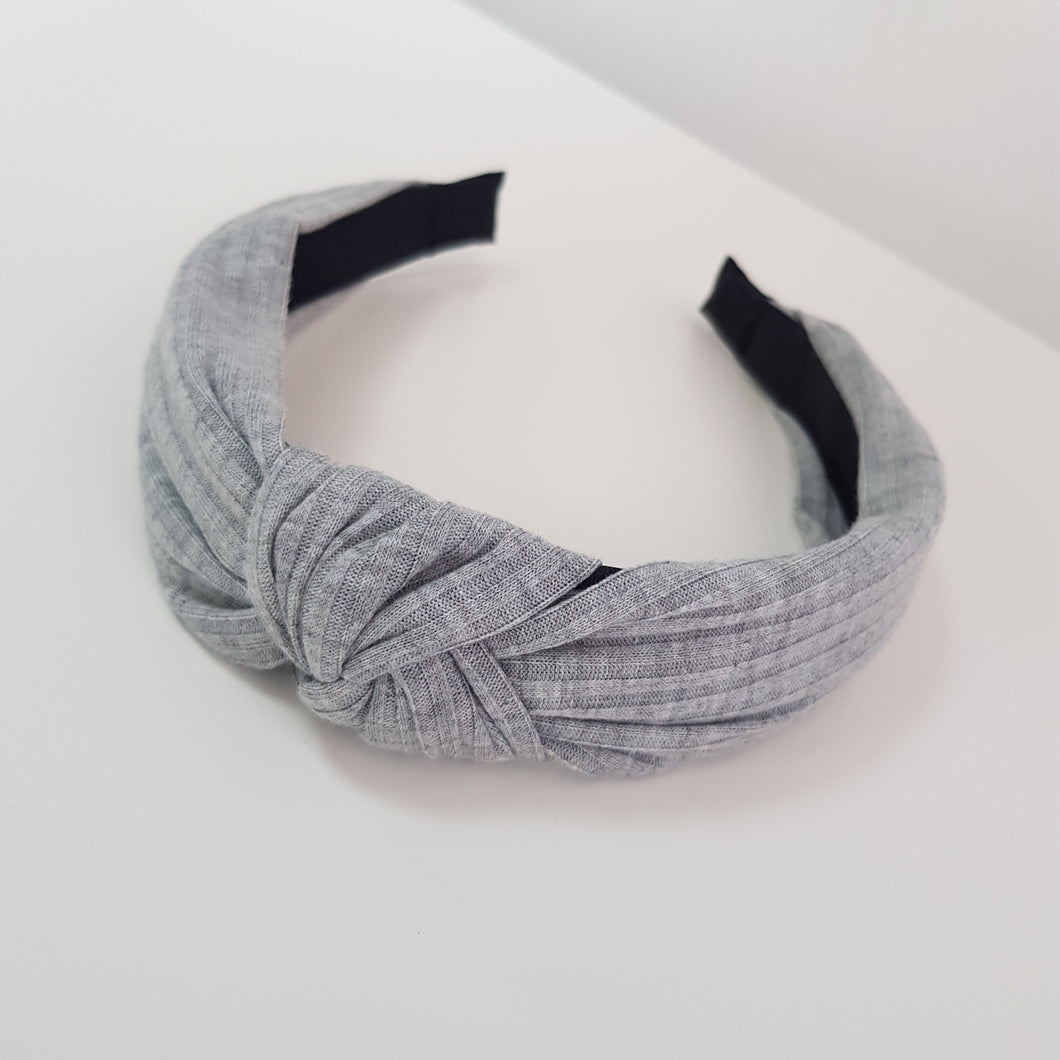 Grey Knotted Rib material alice band