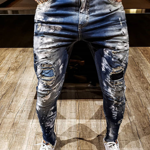 Men's Fashion Street Ripped Jeans - newgugi
