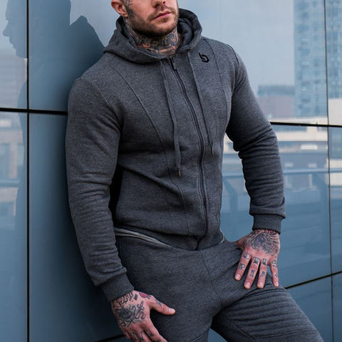 Sports Fashion Pure Colour Long Sleeve Zipper Hoodie Pants Suit