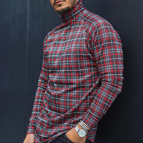 High collar contrast plaid men's top - newgugi