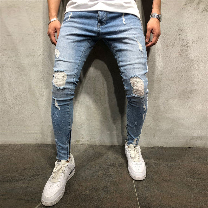 Men's Solid Color Hole Jeans - newgugi