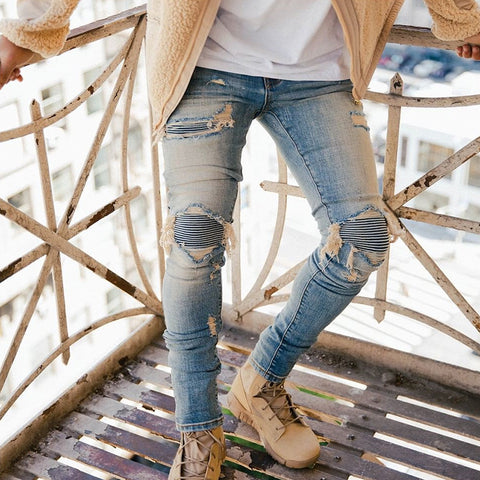 Men's Fashion Broken Skinny Jeans - newgugi