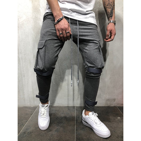 Casual Pure Color Pocket Sports Pants - newgugi