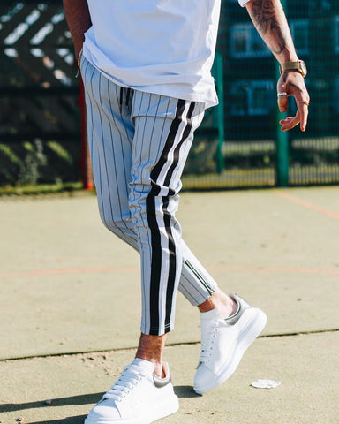 Fashion Striped Side Woven Belt Cropped Casual Pants - newgugi