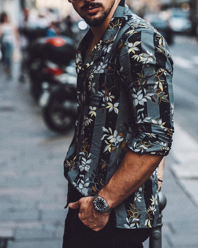 Men's Fashion Printing Turndown Collar Blouse - newgugi