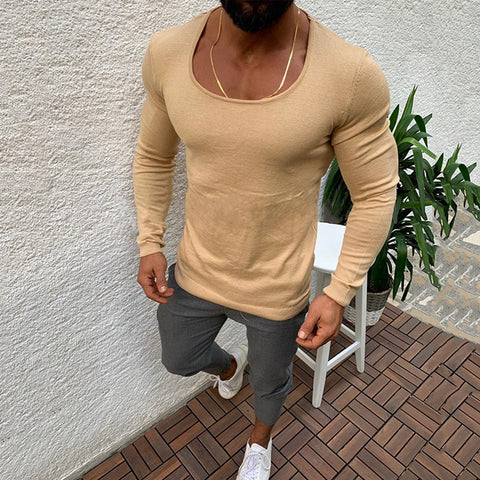 Simple Round Neck Pure Colour T-Shirt - newgugi
