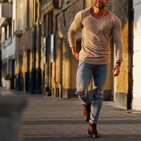 Autumn Men's Slim Cotton T-Shirt - newgugi