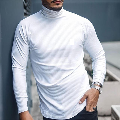 Men's Turtleneck Solid Color Slim Long Sleeve T-Shirt - newgugi