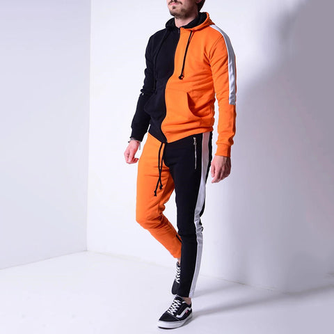 Fashion men's stitching colorblock hooded zipper sports suit