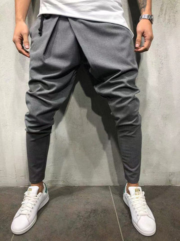 Mid-rise hip hop casual solid color feet nine pants - newgugi