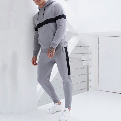 Sporty Casual Hooded Sweatshirt Two-Piece Set