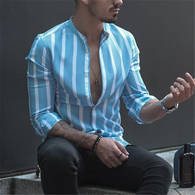 Classic Stripe Slim Fit Stand Collar Shirt - newgugi