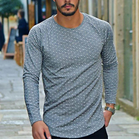 Male fashion wave point round neck long-sleeved T-shirt - newgugi
