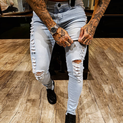 Men's Fashion Ripped Slim Jeans - newgugi