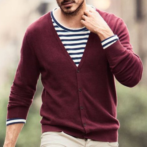 Men's casual V-neck button long sleeve Sweater - newgugi