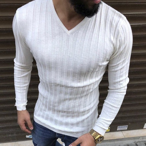 Men's spring new V-neck pit long-sleeved Blouse - newgugi