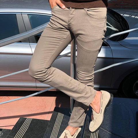 Men's casual simple solid pants - newgugi