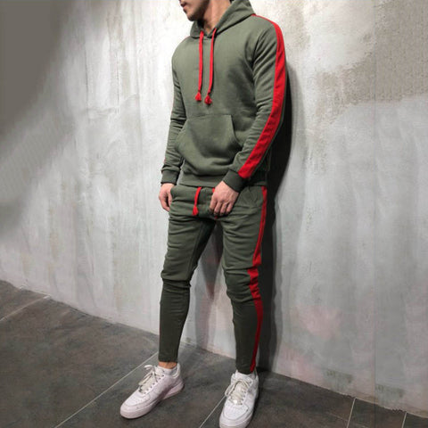 Sporty Casual Contrast Color Hooded Sweatshirt Set - newgugi