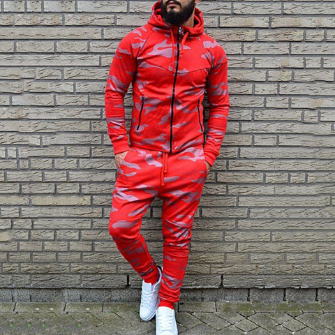 Fashion hooded drawstring red print men's sports suit