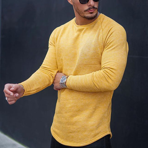 Casual mens yellow round neck long sleeve t-shirt - newgugi