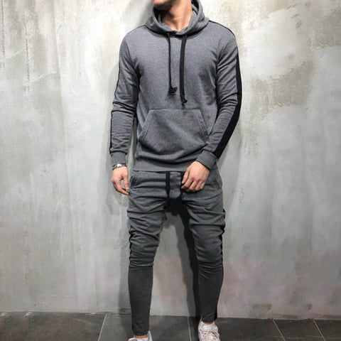 Casual color matching men's suit