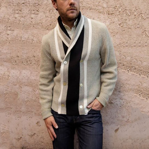 Casual men's lapel double-breasted spell color sweater - newgugi