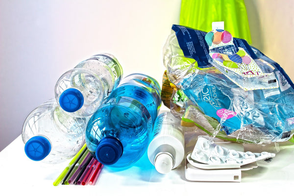 plastic water bottles and bag