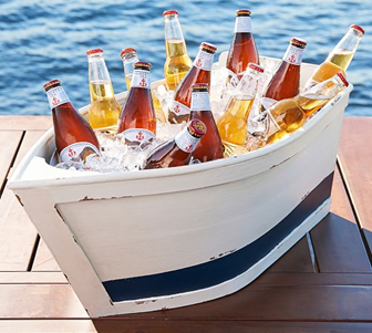Boat-shaped Cooler Holding Drinks