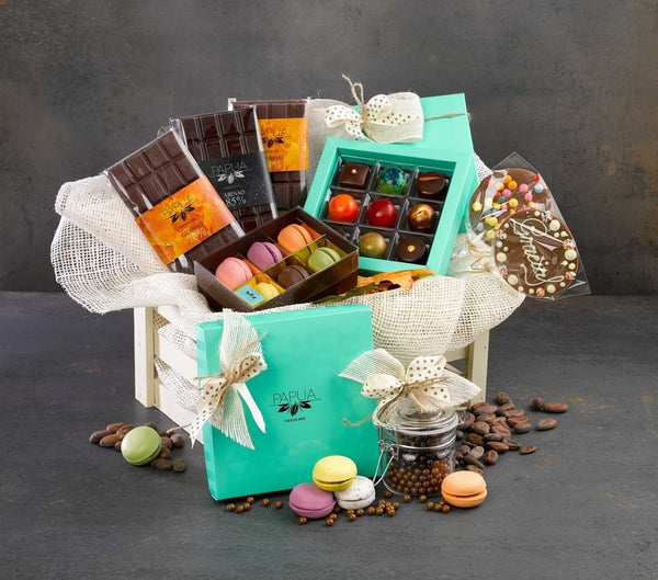 gift basket full of chocolate