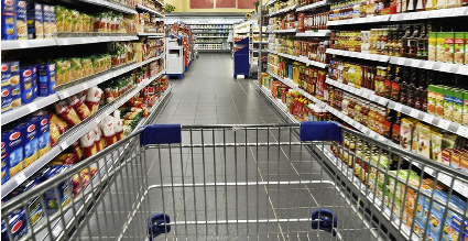 grocery cart in an aisle