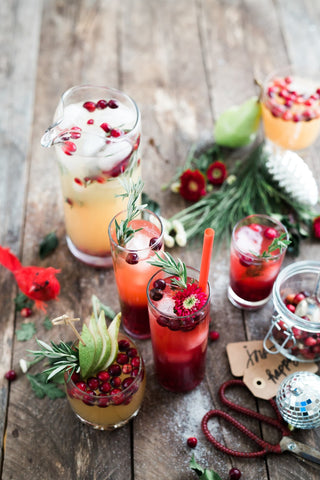 holiday drinks on a table