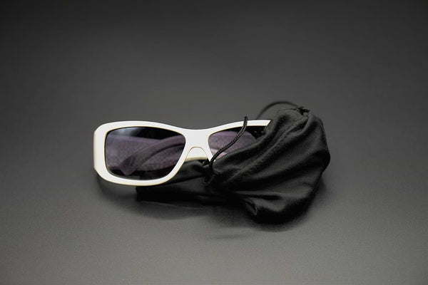 microfiber drawstring pouch and sunglasses