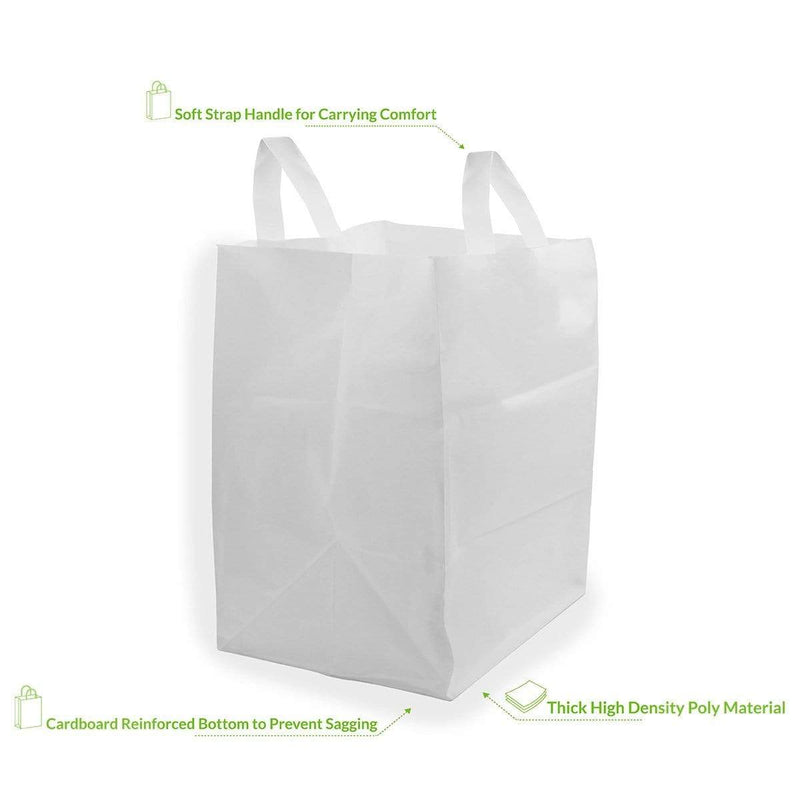 12x10x16 White Plastic Shopping Bags With Cardboard Bottom